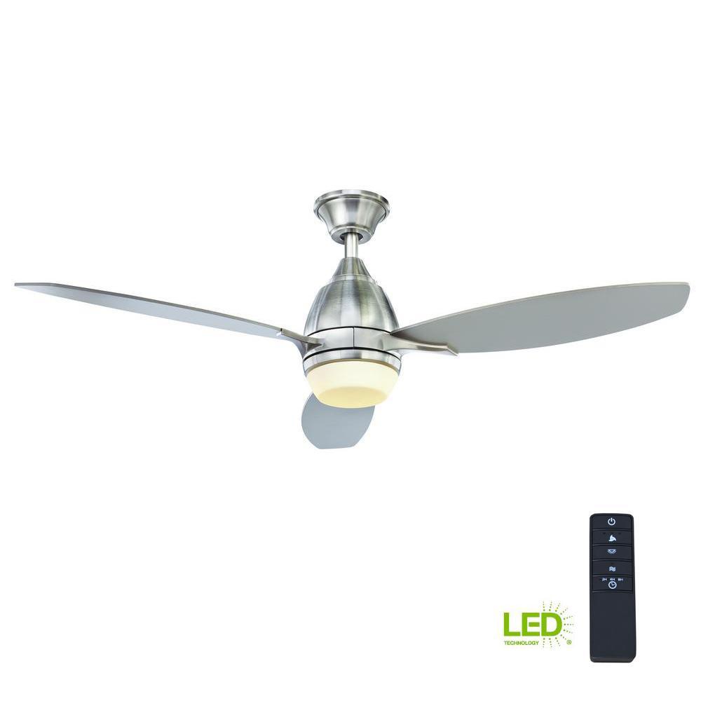 Brookhurst 52 In Led Indoor Brushed Nickel Ceiling Fan