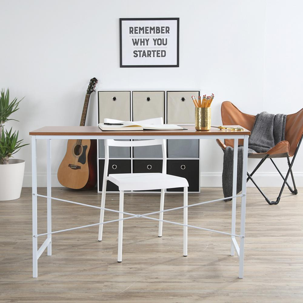 Lucky theory industrial white and maple office desk