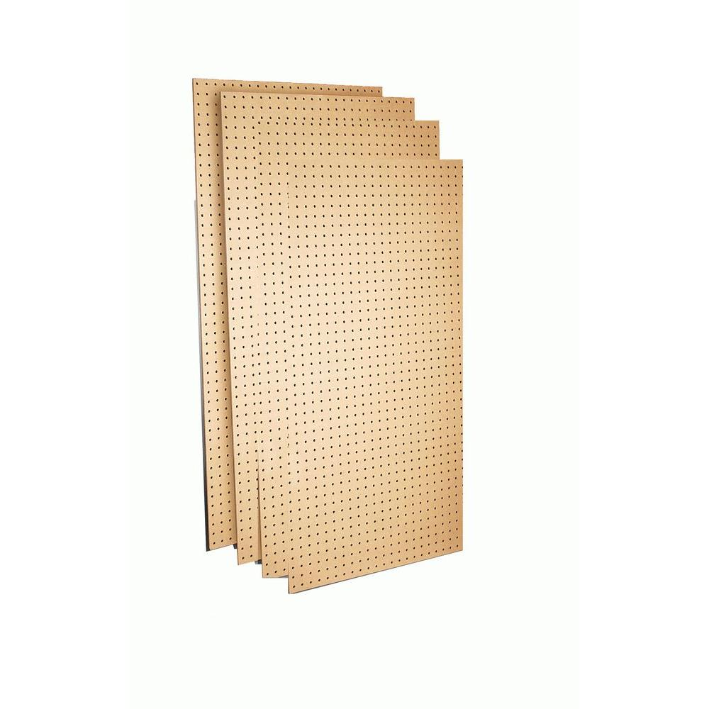 Triton Products 24 in. x 48 in.x1/4 in. Round Hole Tempered Wood Commercial Grade Pegboard, 4 Boards