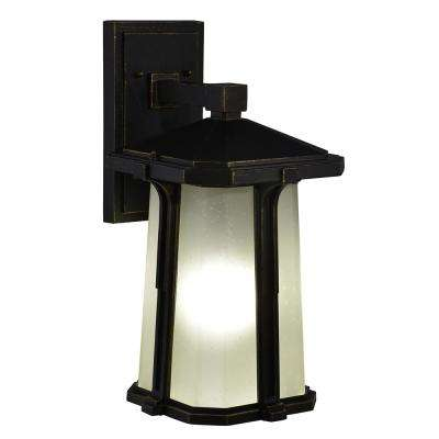 Impression II 1-Light Black Gold Outdoor Wall Mount Sconce