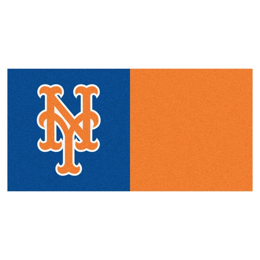 MLB - New York Mets Blue and Orange Nylon 18 in. x 18 in. Carpet Tile (20 Tiles/Case)