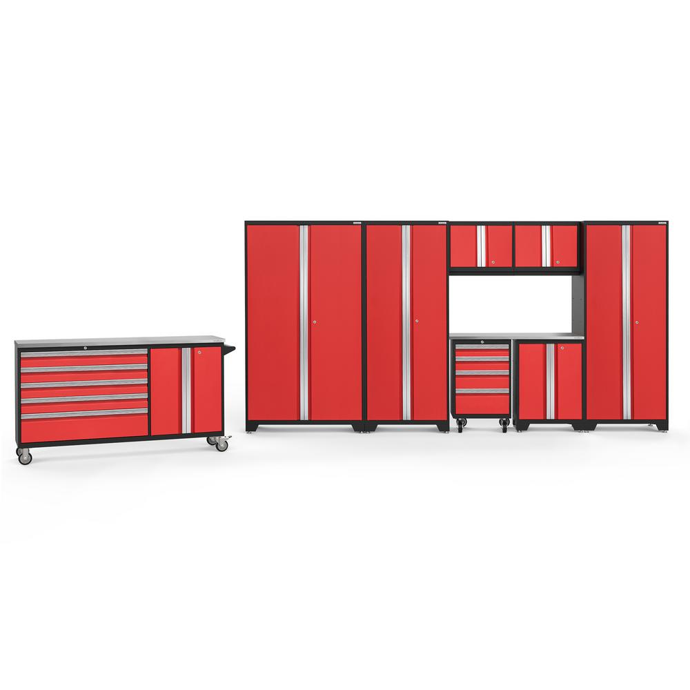 NewAge Products Bold 3.0 212 in. W x 75.25 in. H x 18 in. D 24-Gauge Welded Steel Stainless Steel Worktop Cabinet Set in Red (9-Piece)