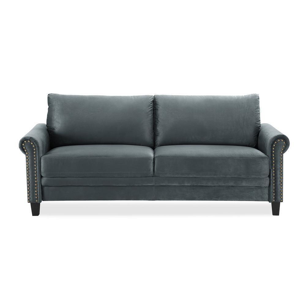 Ashford 31.9 in. Charcoal Microfiber 3-Seater Tuxedo Sofa with Nailheads