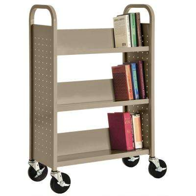 32 in. W x 14 in. D x 46 in. H Single Sided 3-Sloped Shelf Booktruck in Tropic Sand
