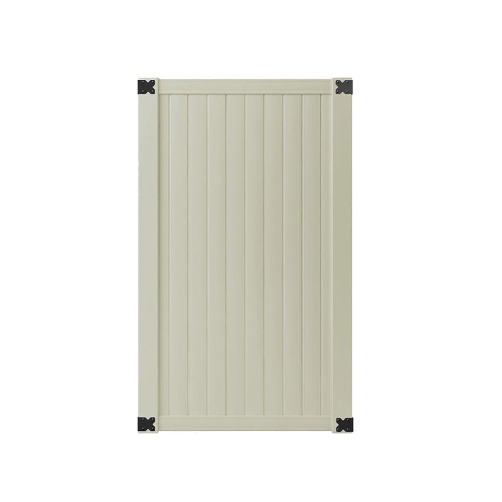 Veranda 3.5 ft. W x 6 ft. H Tan Vinyl Somerset Privacy Gate