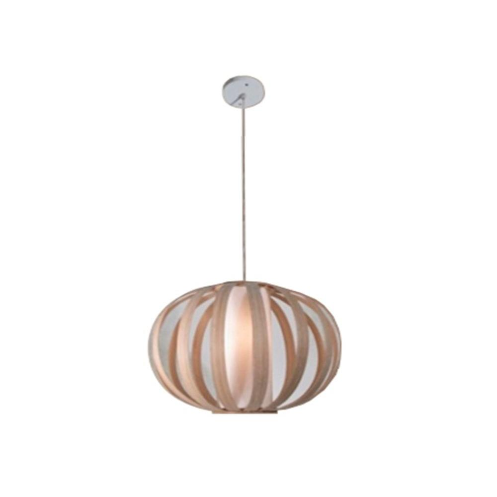 BAZZ Vibe Series 1-Light Wood Hanging Pendant with Natural Bamboo Shade