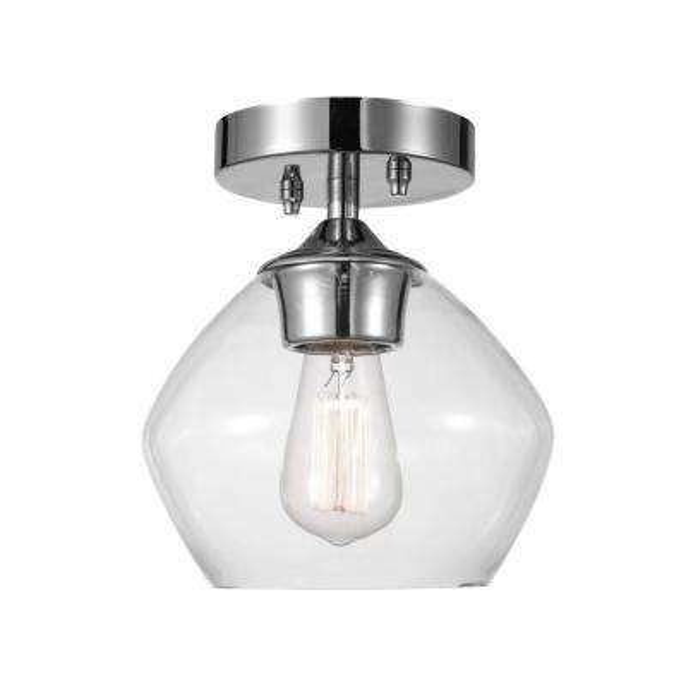 Harrow 1-Light Chrome Semi-Flush Mount Ceiling Light with Clear Glass Shade
