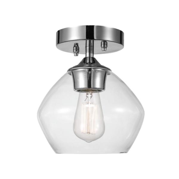 Harrow 1-Light Chrome Semi-Flush Mount Ceiling Light with Clear Glass Shade
