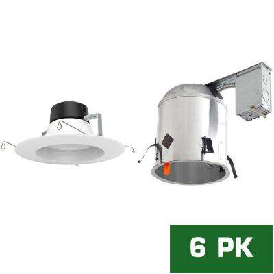 6 in. LED Recessed Remodel Housing with Standard Retrofit White LED Trim Kit, 5000K (6-Pack)