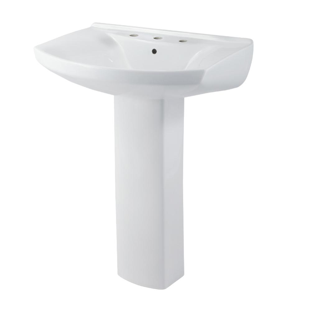 Evanston Pedestal Combo Bathroom Sink in White
