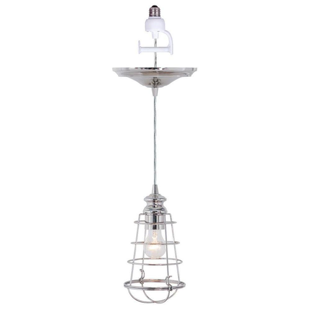 Worth Home Products Instant Pendant 1-Light Recessed Light Conversion Kit Brushed Nickel Wire Cage Shade