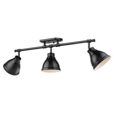 Duncan Collection 3-Light Black Semi-Flush Mount with Matte Black Shade