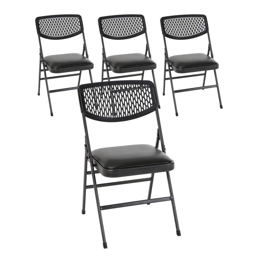 Cosco Black Vinyl Padded Seat Folding Chair (Set of 4)