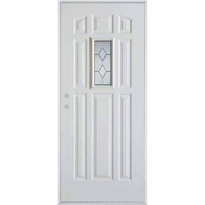 36 in. x 80 in. Geometric Patina Rectangular 1 Lite 9-Panel Painted Right-Hand Inswing Steel Prehung Front Door
