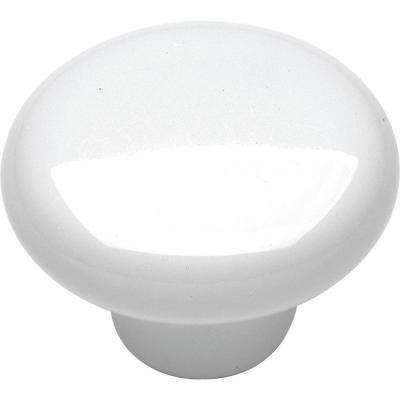 English Cozy 1-1/4 in. White Cabinet Knob