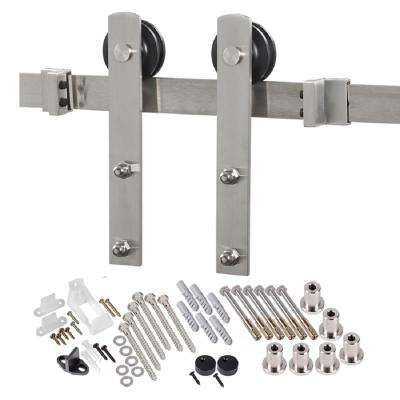 8 ft. Premium Stainless Steel Interior Modern Country Rustic Wood Barn Door Closet Hardware Kit