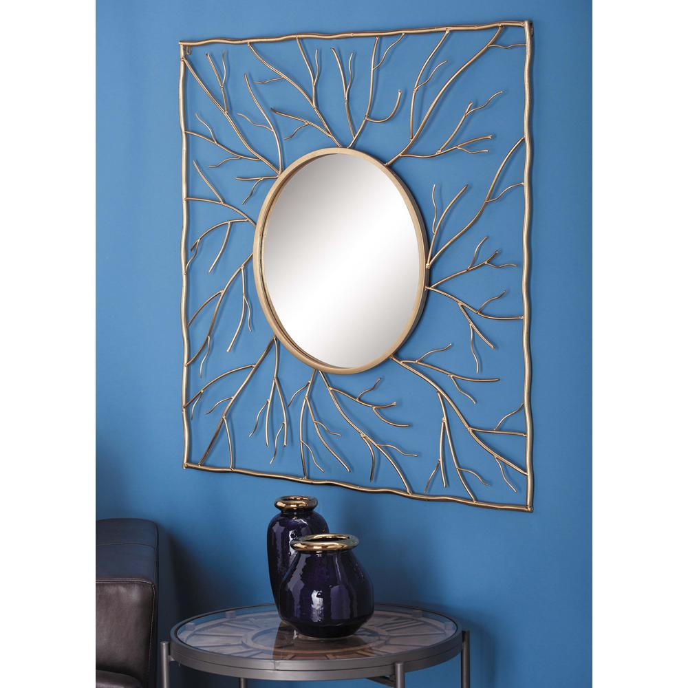 40 in. Natural Gold Twigs Square Framed Mirror