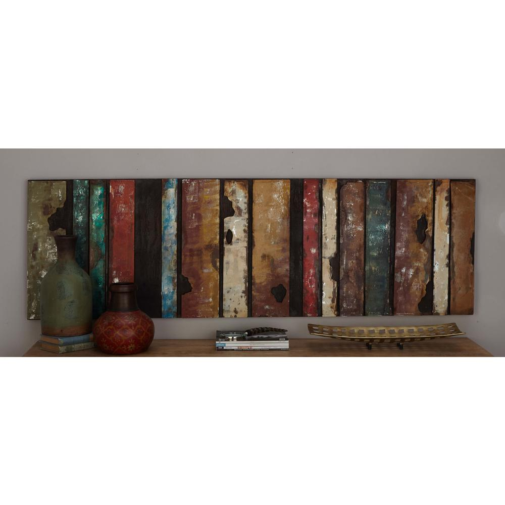 Charmant Rustic Iron Multicolored Slat Wall Decor