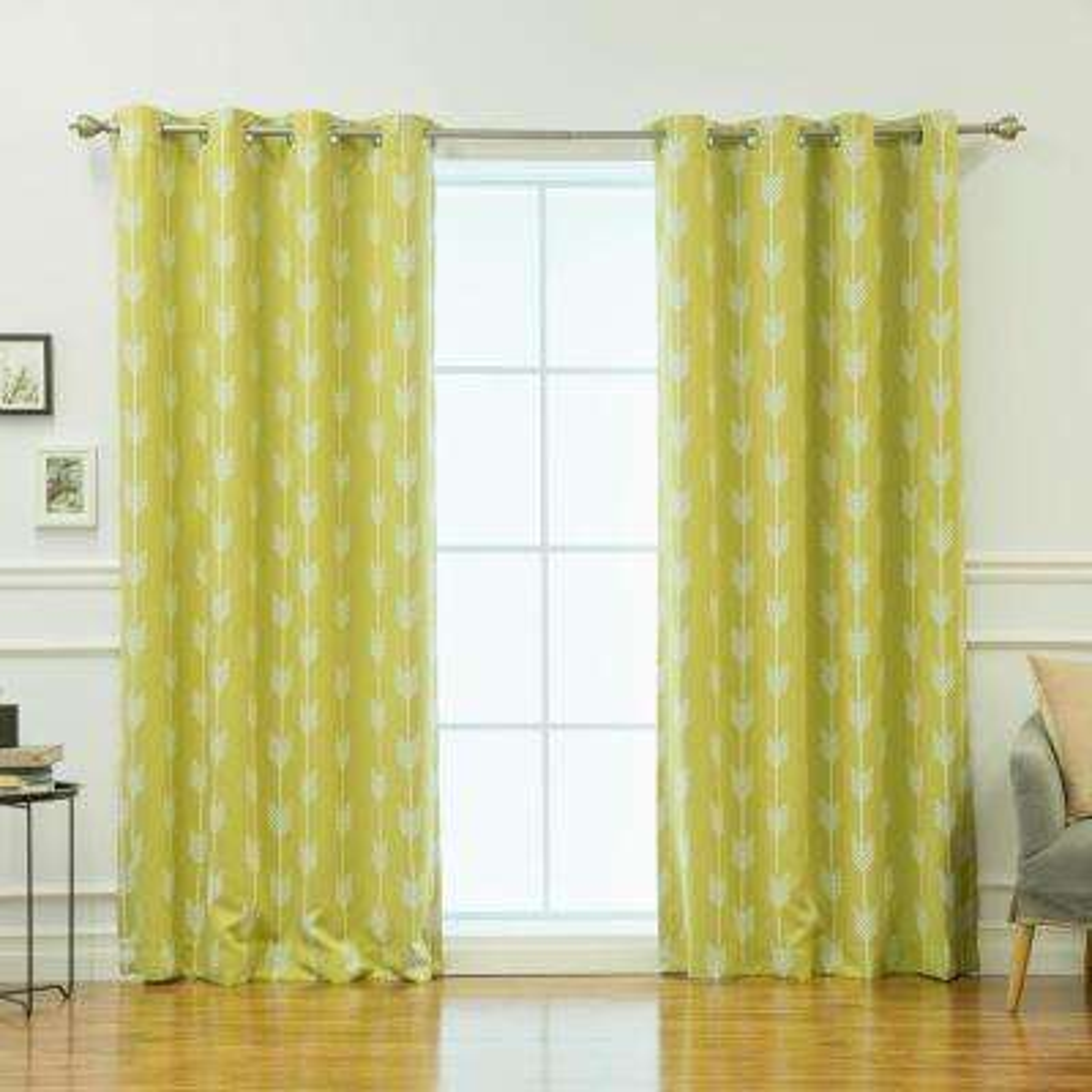84 in. L Arrow Room Darkening Curtains in Green Tea (2-Pack)
