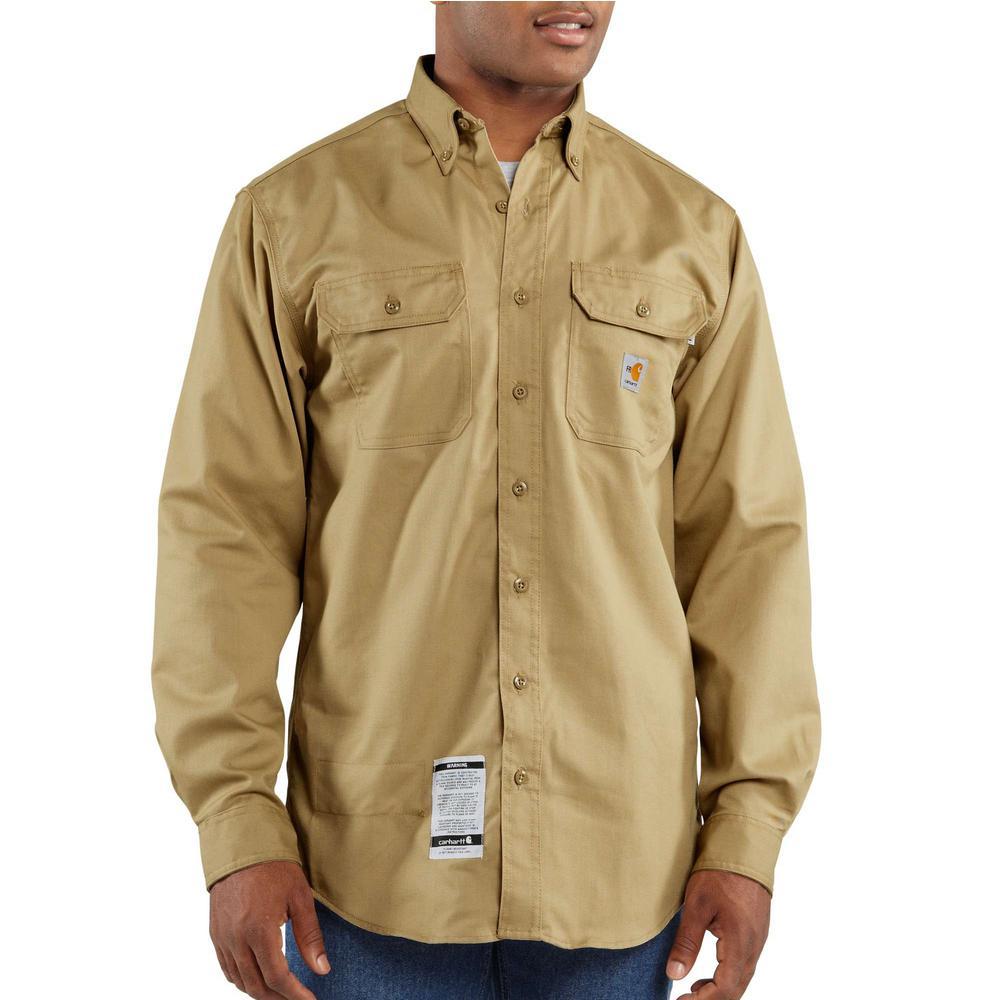 2f06825257d9 Carhartt Men s Tall Medium Khaki FR Classic Twill Long Sleeve Shirt ...