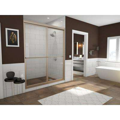 Newport 54 in. to 55.625 in. x 70 in. Framed Sliding Shower Door with Towel Bar in Brushed Nickel and Clear Glass