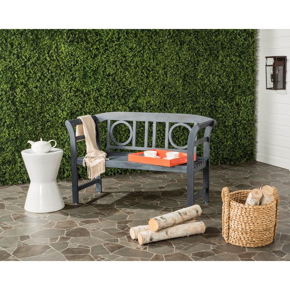 Moorpark Outdoor 2 Seat Acacia Patio Bench in Ash Grey