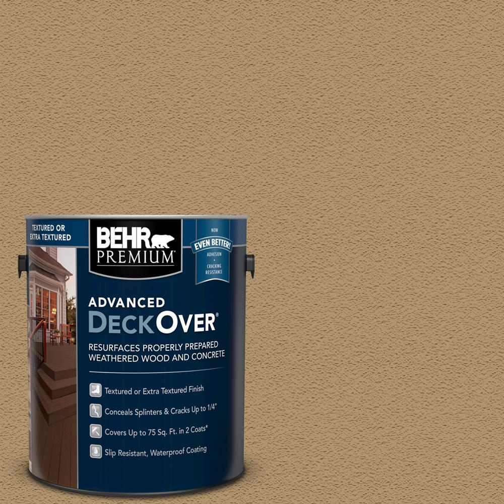 Behr Premium Advanced Deckover 1 Gal Sc 145 Desert Sand Textured Solid Color Exterior Wood And Concrete Coating 500501 The Home Depot