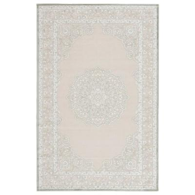 Machine Made Bright White 8 ft. x 10 ft. Medallion Area Rug