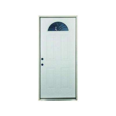 36 in. x 80 in. Webville Fan Lite Primed White Fiberglass Prehung Front Door