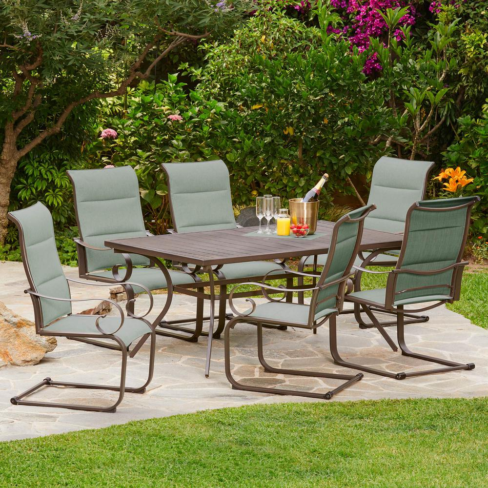 Spring hill 7 piece aluminum sling outdoor dining set in teal