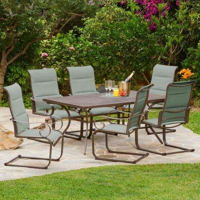 Spring Hill 7-Piece Aluminum Sling Outdoor Dining Set in Teal