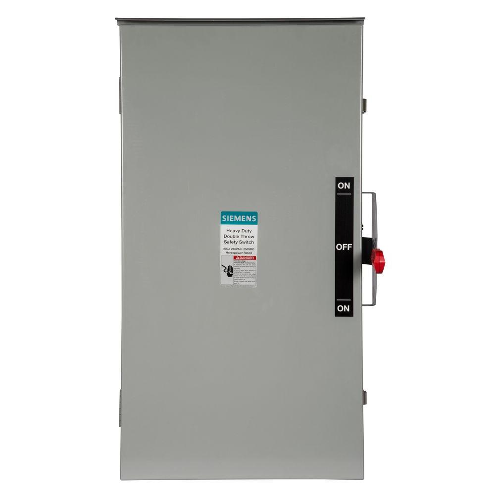 Siemens Double Throw 200 Amp 240-Volt 3-Pole Outdoor Non-Fusible ...