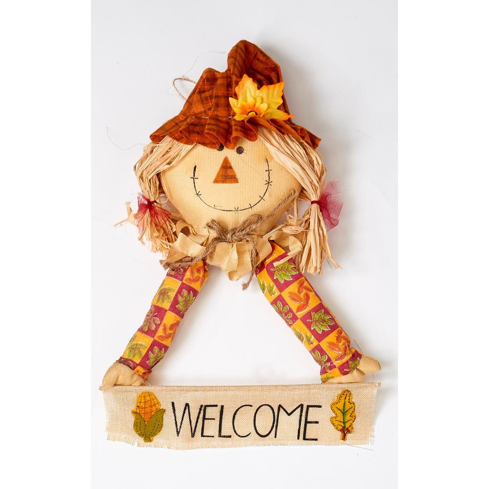 15 in. x 22 in. Hanging Girl Scarecrow Holding Sign