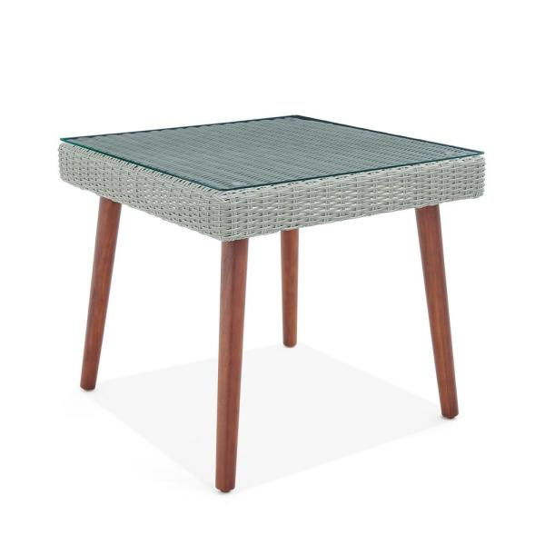 Albany Brown Square Wicker Outdoor Accent Table