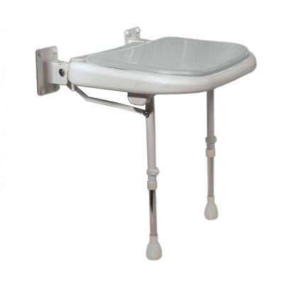 Deluxe 23 in. W x 19 in. D Wide Fold Up Shower Seat in Gray Padding