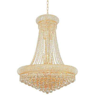 Empire 14-Light Polished Gold Chandelier with Clear Crystal