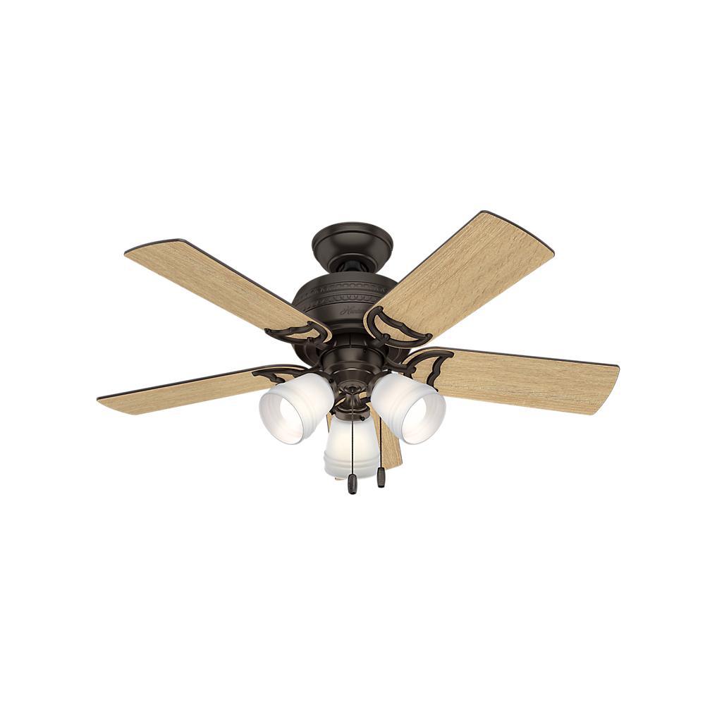 Hunter ceiling fans lighting the home depot led 3 light indoor premier bronze ceiling fan aloadofball Choice Image