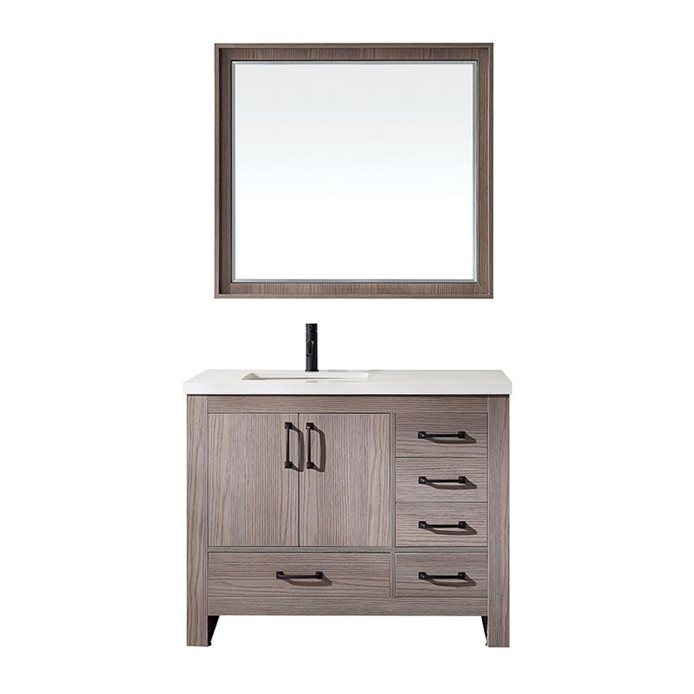 Magnificent Roswell Forli 42 In W X 22 In D Bath Vanity In Dark Grey With Quartz Vanity Top In White With White Basin And Mirror Home Interior And Landscaping Mentranervesignezvosmurscom