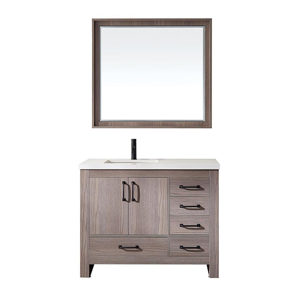 Forli 42 in. W x 22 in. D Bath Vanity in Dark Grey with Quartz Vanity Top in White with White Basin and Mirror