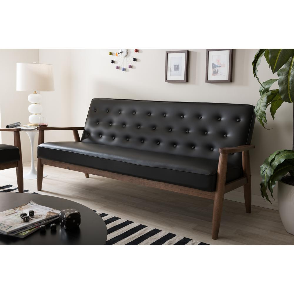 Baxton Studio Soro Mid Century Black Faux Leather Upholstered Sofa