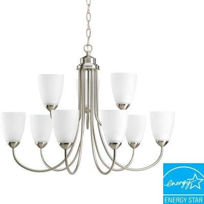 Gather Collection 9-Light Brushed Nickel Chandelier with Etched Glass
