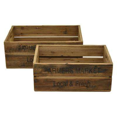 7.75 in. Brown Wood Crate (Set of 2)