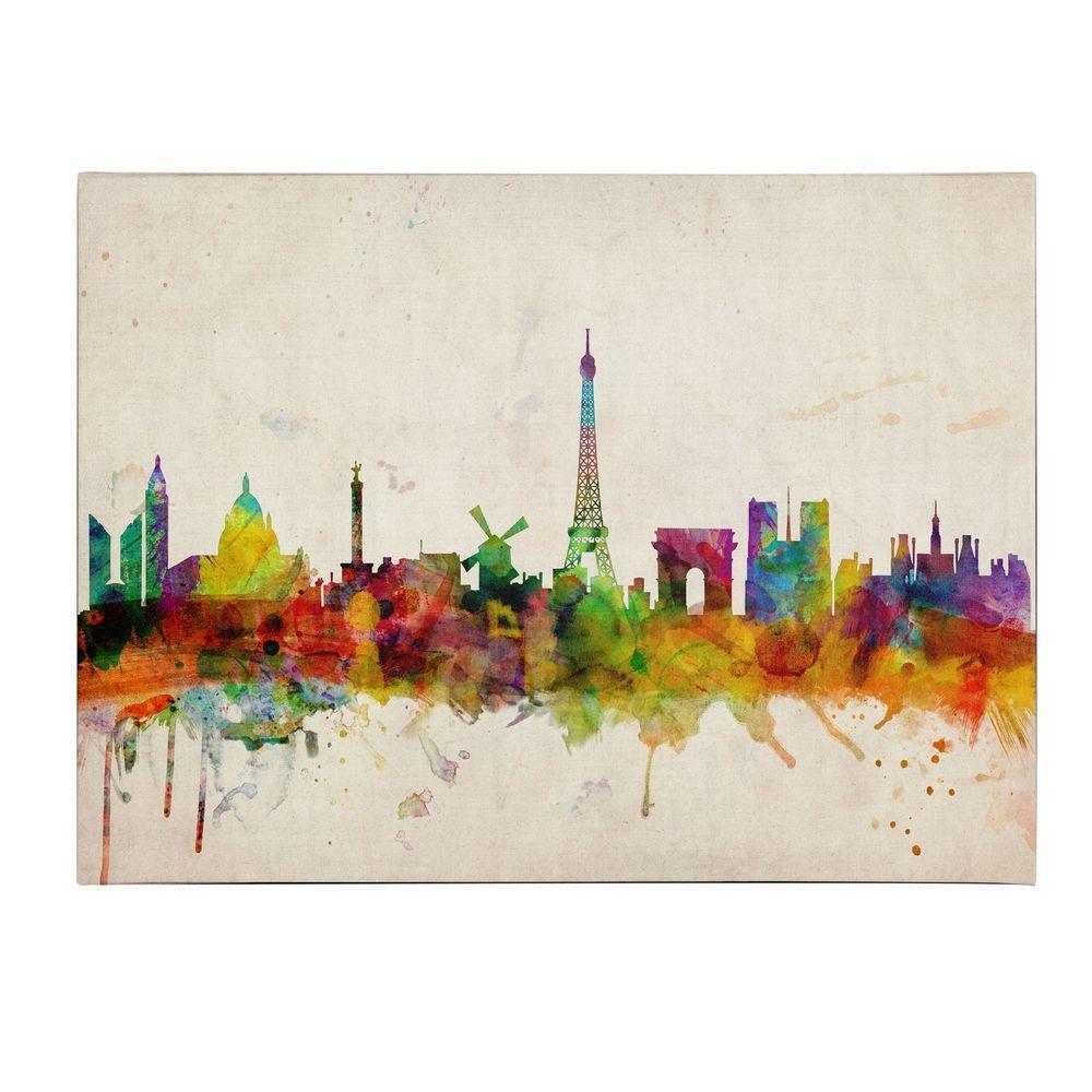 14 in. x 19 in. Paris Skyline Canvas Art