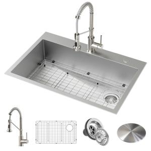 Loften All-in-One Dual Mount Drop-In Stainless Steel 33 in. 2-Hole Single Bowl Kitchen Sink with Pull Down Faucet