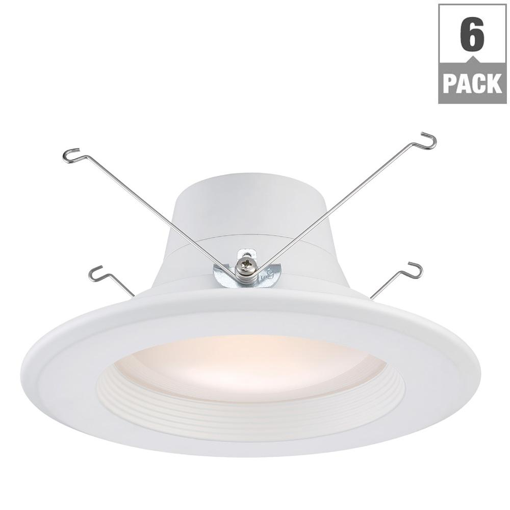 6 in. and 5 in. White Integrated LED Recessed Trim (6-Pack)