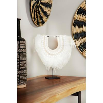 Decorative White Shell and Feather Tribal Necklace Displayed on Black Iron Stand