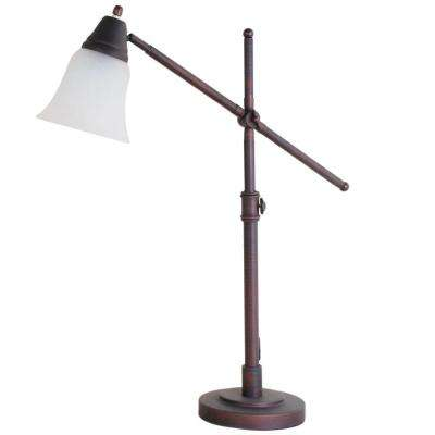 20 in. Reddish Bronze Desk Lamp with Frosted Glass Shade