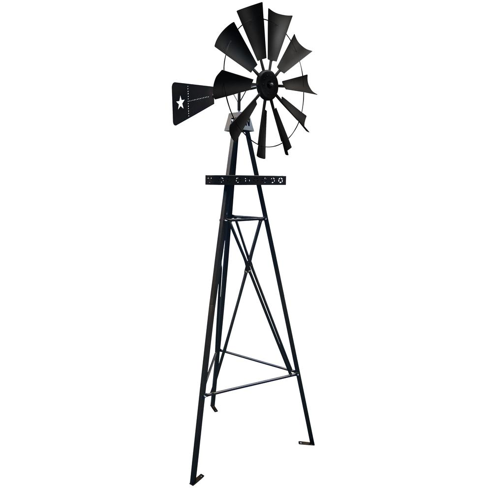 Leigh Country 9 ft. Metal Black Texas Flag Backyard Lawn Windmill