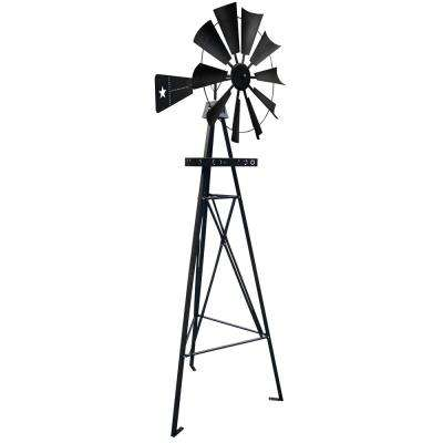 9 ft. Metal Black Texas Flag Backyard Lawn Windmill