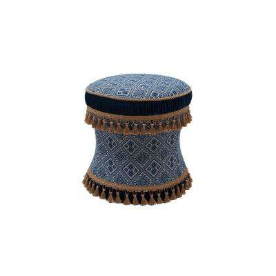Leona Navy and White Vanity Stool
